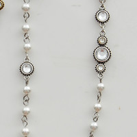 Silver Night Out Pearl & Gemstone Necklace - Unique Vintage - Bridesmaid & Wedding Dresses