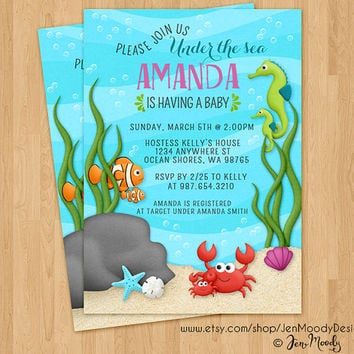 Under the Sea Baby Shower Invitation, Ocean Party Invite - Printable, Boy or Girl, Swimming, Pool, Fish, Ocean, Water, Crab, Celebration