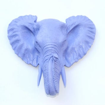 Faux Taxidermy Small Lavender Elephant Wall Mount - Resin Wall Decor MEL23