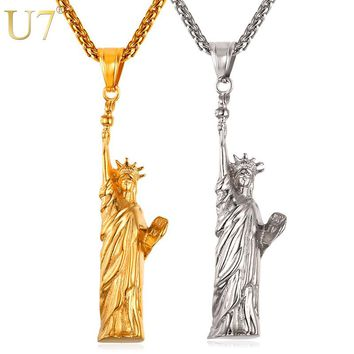 U7 Statue Of Liberty Charm Necklace Gold Color Stainless Steel Pendant & Chain For Men/Women 2017 Fashion Jewelry Hot P1057