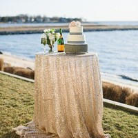 Ivory Sequin Linens