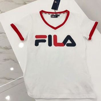 PEAPIH3 FILA Stylish Women Men Simple Letter Print Red Edge Short Sleeve T-Shirt Blouse I-G-JGYF