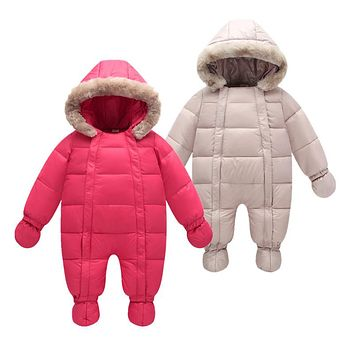 Winter 2018 baby jumpsuits parka 6M-24M jackets coats for baby snow wear , duck down coats & outerwear infant winter snowsuit