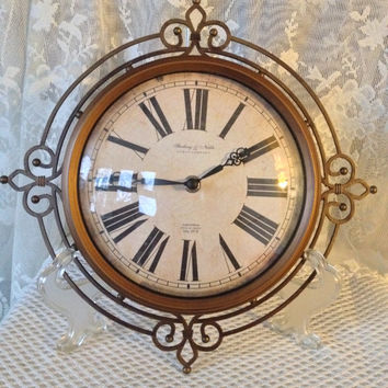 Rustic Wall Clock, Fleur de Lis Filigree Design, Large Roman Numerals, Antiqued Paper Dial, Sterling & Noble, Battery Operated