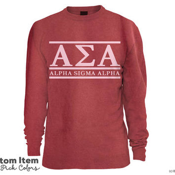 ASA Alpha Sigma Alpha Custom Comfort Colors Classic Sorority Sweatshirt