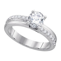 Diamond Bridal Ring with 1.00ctw Center Round Stone in 14k White Gold 1.29 ctw