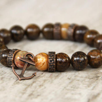 nautical mens bracelet brown copper anchor jewelry for men gift bronzite beads pirate men's accessories gift for dad present for men present