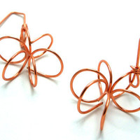 Dangle Wire Flower Handformed on Copper or by TheCraftyPandaGirl