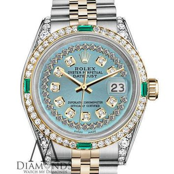 Rolex SS & Gold 36mm Datejust Ice Blue String Emerald Diamond Dial Watch
