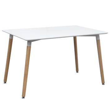Tango Rectangular Dining Table w/ White Top & Beech Legs