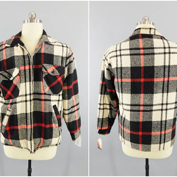 1950s Vintage Flannel Jacket / Airman / Tailored Look / Red, White & Black Plaid / Plush Lined / Zip Front / 4 Pocket / Size XL / 44
