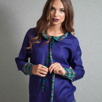 Purple blouse, plaid collar blouse, cuffs blouse, slim neck tie, secretary blouse
