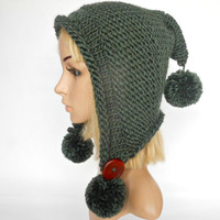 Hand Knit Hat Adult Elf Pixie Hood Hat Chunky Pom Poms Forest Green Woodland Sheep Wool