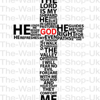 Typography Christian Cross - PRAY - Wall Decal - Wall art Sticker