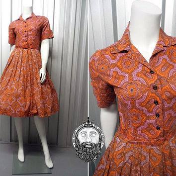 Vintage 50s Full Skirt Dress 1950s Shirtwaist Shirt Waister Mad Men Shirtdress Paisley Print Cuff Sleeves Short Sleeve Dress by Coquette