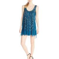 Angie Juniors' Beaded Peacock Blue Party Dress