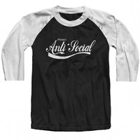 "Unisex ""Anti-Social"" Baseball Raglan by The T-Shirt Whore (Black/White)"