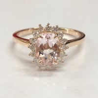 Oval Morganite Engagement Ring Diamond 14K Rose Gold 6x8mm Head Raised