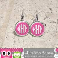 Pink and White Monogram Earrings, Monogram Jewelry, Monogram Accessories, Monogram Studs, Monogram Leverbacks, Gifts