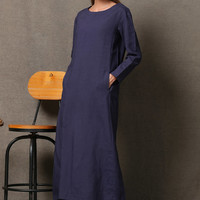 Blue Long Maxi Dress With Double Pockets C556