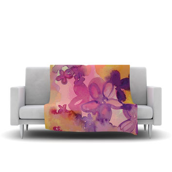 "Louise Machado ""Dissolved Flowers"" Fleece Throw Blanket"