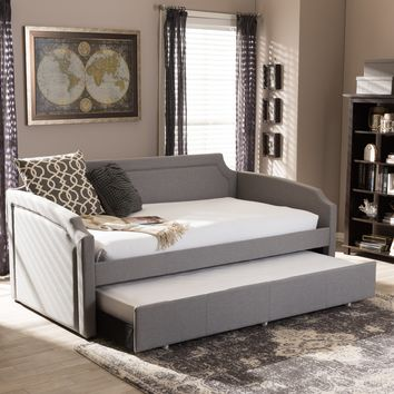 Baxton Studio Parkson Modern and Contemporary Grey Fabric Curved Notched Corners Sofa Twin Daybed with Roll-Out Trundle Guest Bed Set of 1