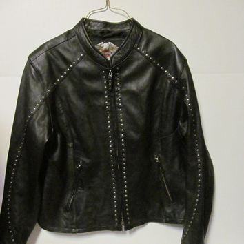Harley Davidson Black Leather Jacket sz XL Harley Davidson Womens size XL Jacket Leather Women Harley Clothing Vintage Harley Clothes
