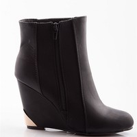 Natures Breeze Little Golden Age Gold Tipped Wedge Ankle Booties - Black