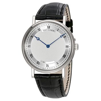 Breguet Classique Automatic Ultra Slim Silver Dial Leather Mens Watch