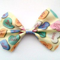 Anti Valentine's Day Candy Heart Hair Bow