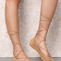 Toffee Lace Up Point Toe Flats