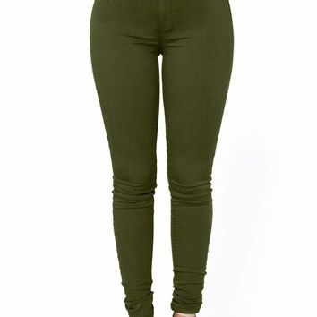 Olive High Waisted Skinny Jeans with Round Pockets