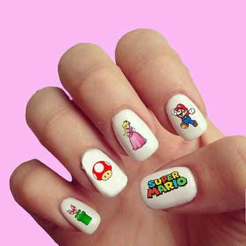 Super Mario   - Nail Art - Nail Decals