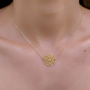 gold necklace, gold flower necklace, lace pattern, gold filigree necklace, dainty necklace, delicate gold necklace, simple gold necklace