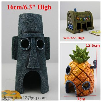 NEW Aquarium Decoration Fish Tank Ornaments Set of 3 SpongeBob Pineapple House & Squidward Easter Island & Krusty Krab