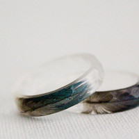 thin multifaceted eco resin ring with blue macaw feather - size 8