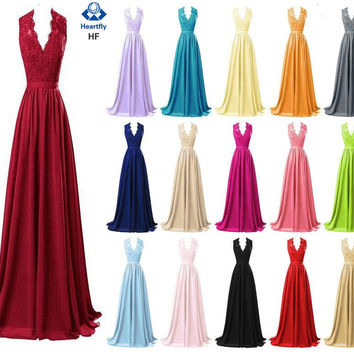 Heartfly Chiffon Long Bridesmaid Dresses Robe Demoiselle D'honneur Sexy V-Neck Applique Sash Floor-Length Formal Party Gown Hot