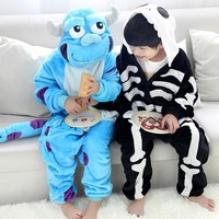 Sullivan & Skeleton Children Kids Boys Girls Pajamas Animal Winter Cartoon Costume halloween