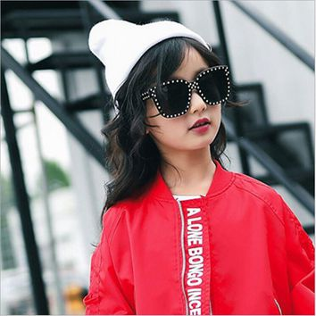 New Luxury kids Oculos Sun Glasses colorful mirror lens Square Fashion UV400 girls Oversized Rivet Sunglasses