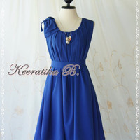 A Party Dress One Shoulder Layered Bow Dress Royal Blue Dress Prom Dress Party Bridesmaid Dress Wedding Dress Anniversary Dress