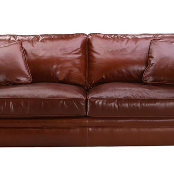 Leather Queen Sleeper Sofa with Down-Blend Cushions Savvy Houston