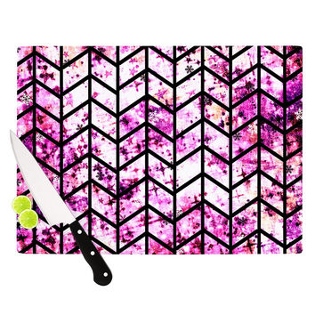 "Ebi Emporium ""Chevron Wonderland"" Pink Black Cutting Board"