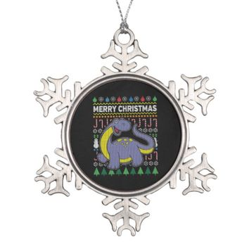 Purple Dino Ugly Christmas Sweater Wildlife Series Snowflake Pewter Christmas Ornament
