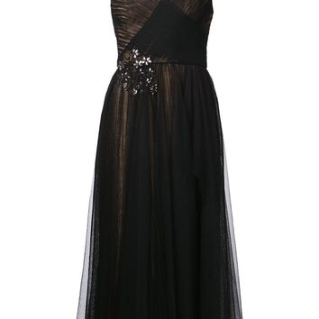 Marchesa Notte embroidered tea length dress