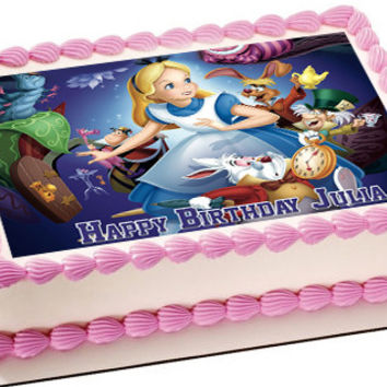 Alice in Wonderland Edible Birthday Cake Topper OR Cupcake Topper, Decor