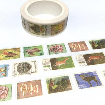vintage stamp washi tape 8M x 1.5cm animal wild animal wild plant deer horse world postage stamp label sticker tape traveller gift idea 2018