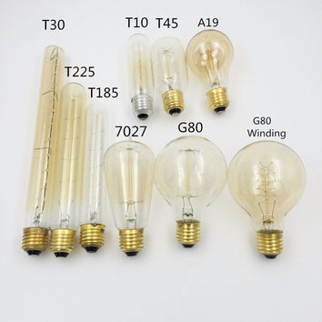 Antique Retro Vintage 40W 220V Edison Bulb E27 Incandescent Bulbs Squirrel-cage Filament Light BulbT45 G80 T30 T10 T225 T185 A19