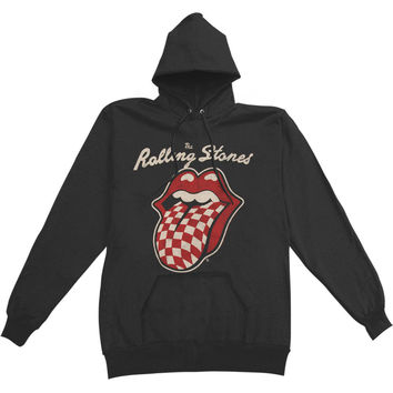Rolling Stones Men's  Checker Lips Hooded Sweatshirt Black
