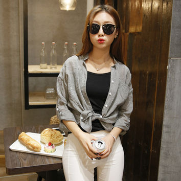 New Arrival 6 Colors Blusas 2017 Autumn Women Blouse Casual V Neck 3/4 Sleeve Sheer Pockets Cotton S