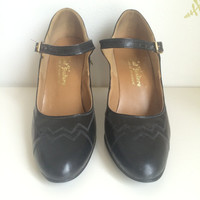 1950's Navy Blue Leather Shoes ~ Ankle Strap ~ Top Stitching ~ High Heels ~ 8AA ~ Vintage 50's